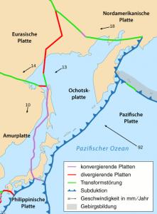 Tektonische Situation bei Japan